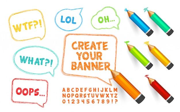 Carattere di bolle di discorso, matite e scarabocchi. set di banner scribble, pastelli e alfabeto con numeri Vettore Premium