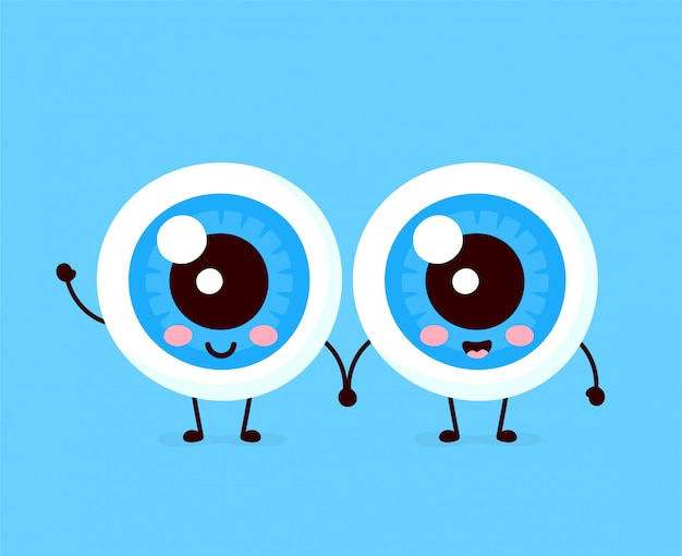 Carattere di coppia di bulbi oculari umani felici sani svegli. Vettore Premium