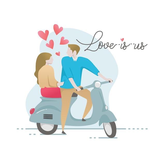 Carattere di coppia romantica su scooter con lettering citazione Vettore Premium