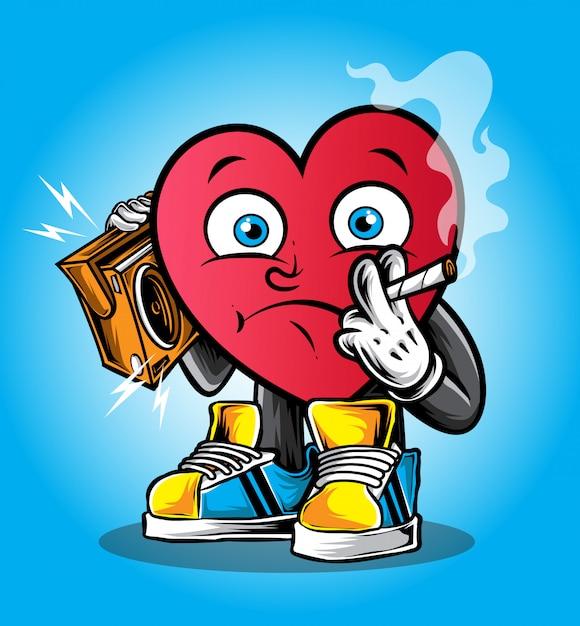 Carattere di cuore funky Vettore Premium
