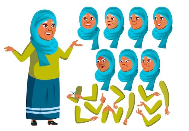 Carattere di donna anziana. arabo. costruttore di creazione per l'animazione. affronta le emozioni, le mani. Vettore Premium
