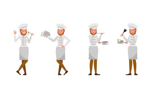 Carattere di donna chef Vettore Premium