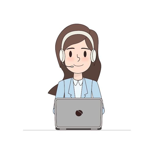 Carattere di donna d'affari in call center. Vettore Premium