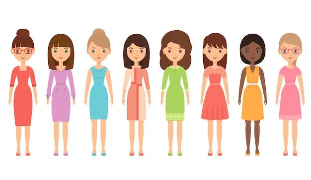 Carattere di donna in abito d'affari. illustrazione. design piatto. Vettore Premium