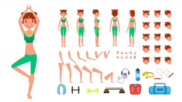 Carattere di donna yoga. Vettore Premium