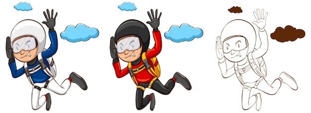 Carattere di doodle per l'uomo che fa l'illustrazione del paracadute Vettore gratuito