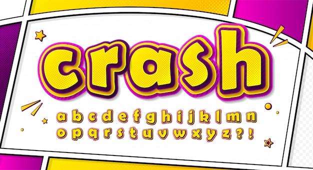 Carattere di fumetti cartoonish, alfabeto in stile pop art. lettere giallo-rosa multistrato con effetto mezzetinte sulla pagina del fumetto Vettore Premium
