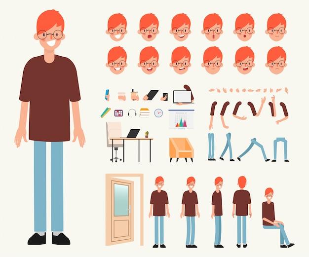 Carattere di giovane uomo pronto per l'animazione. Vettore Premium