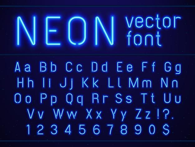 Carattere di lettere e numeri di alfabeto al neon blu incandescente luminoso. Vettore Premium