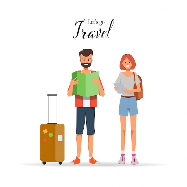Carattere di persone che viaggiano in vacanza estiva con borsa da viaggio. Vettore Premium