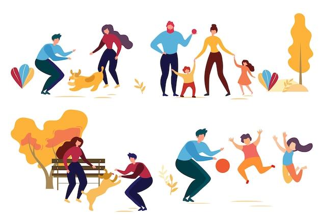 Carattere di persone del fumetto nell'illustrazione del parco Vettore Premium