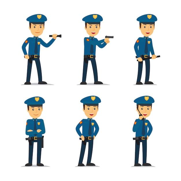 Carattere di ufficiale di polizia in diverse pose Vettore Premium