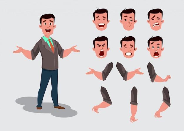 Carattere di uomo d'affari per animazione o movimento con diverse emozioni facciali e mani. Vettore Premium