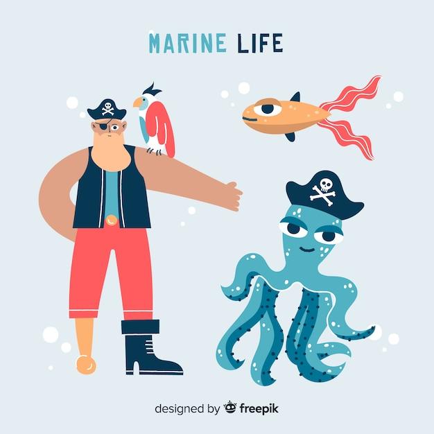 Carattere di vita marina disegnata a mano Vettore gratuito