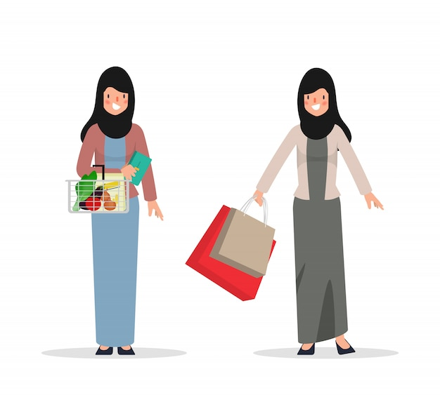 Carattere donna araba o musulmana per lo shopping. persone in hijab abbigliamento nazionale. Vettore Premium