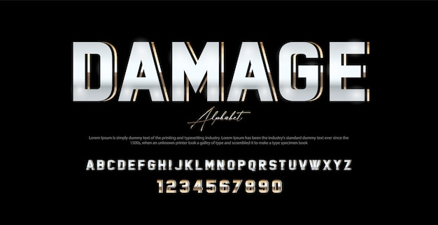 Carattere e numero di alfabeto moderno di sport. caratteri tipografici in stile urbano Vettore Premium