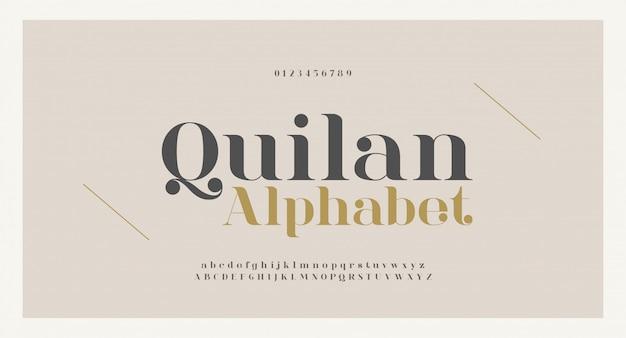 Carattere e numero eleganti delle lettere di alfabeto. disegni classici di moda minimale con lettere in rame. font tipografici regolari maiuscoli e minuscoli. Vettore Premium