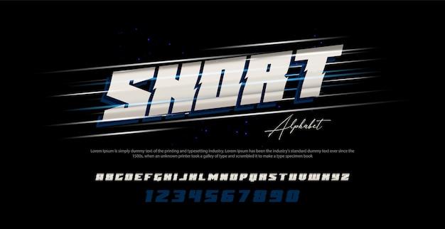 Carattere e numero moderni di alfabeto corsivo di sport. caratteri tipografici in stile urbano Vettore Premium