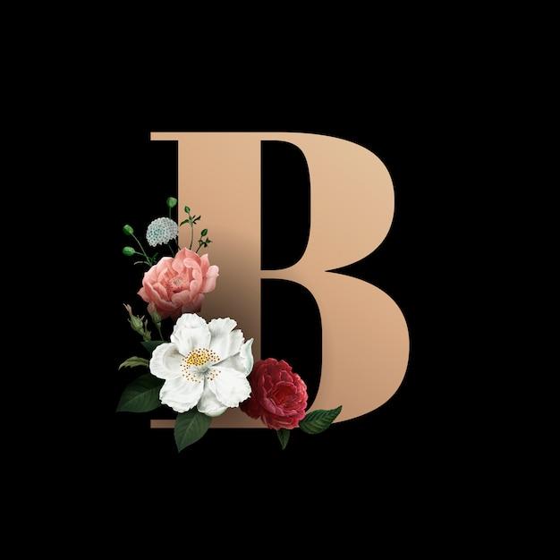 Carattere floreale lettera b. Vettore gratuito