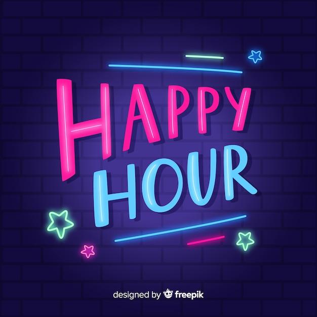 Carattere happy hour con luci al neon Vettore gratuito