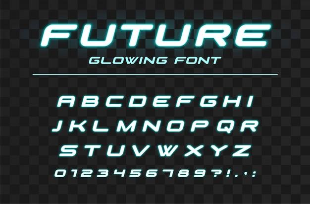 Carattere incandescente futuro. sport futuristico, futuristico, alfabeto tecnologico. lettere e numeri al neon per il design del logo ad alta velocità, industriale e hi-tech Vettore Premium