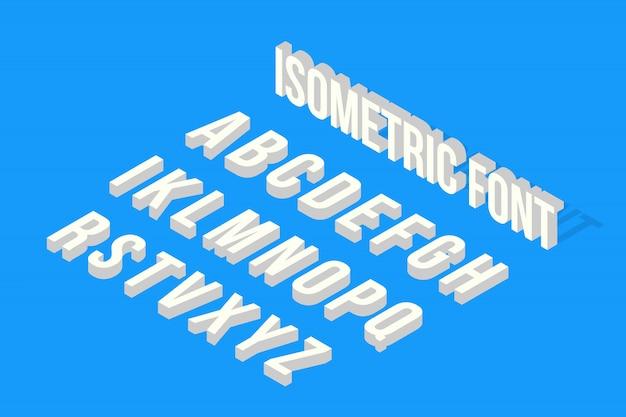 Carattere isometrico glitch, alfabeto Vettore Premium