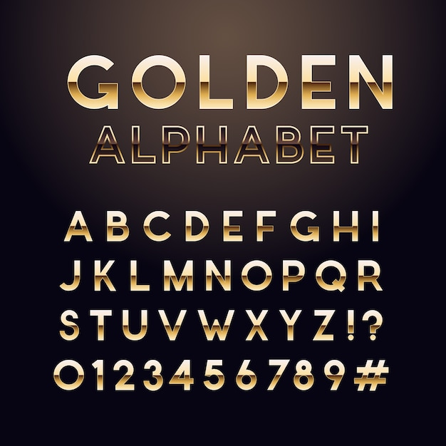 Carattere lucido dorato. Vettore Premium