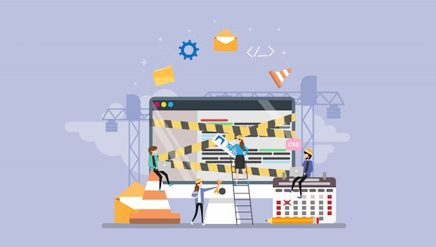 Carattere minuscolo della gente della pagina in costruzione di sviluppo web Vettore Premium