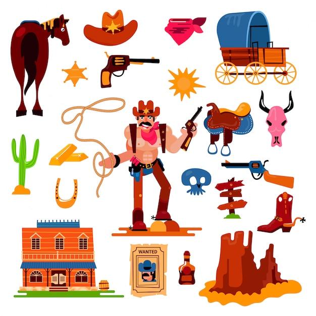 Carattere occidentale selvaggio del cowboy occidentale nel deserto della fauna selvatica con l'illustrazione del cactus sceriffo selvaggiamente in cappello con la pistola sull'insieme del rodeo Vettore Premium