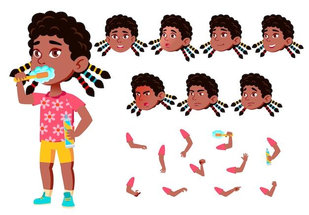 Carattere ragazza bambino. africano. costruttore di creazione per l'animazione. affronta le emozioni, le mani. Vettore Premium