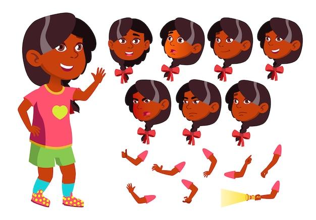 Carattere ragazza bambino. indiano. costruttore di creazione per l'animazione. affronta le emozioni, le mani. Vettore Premium