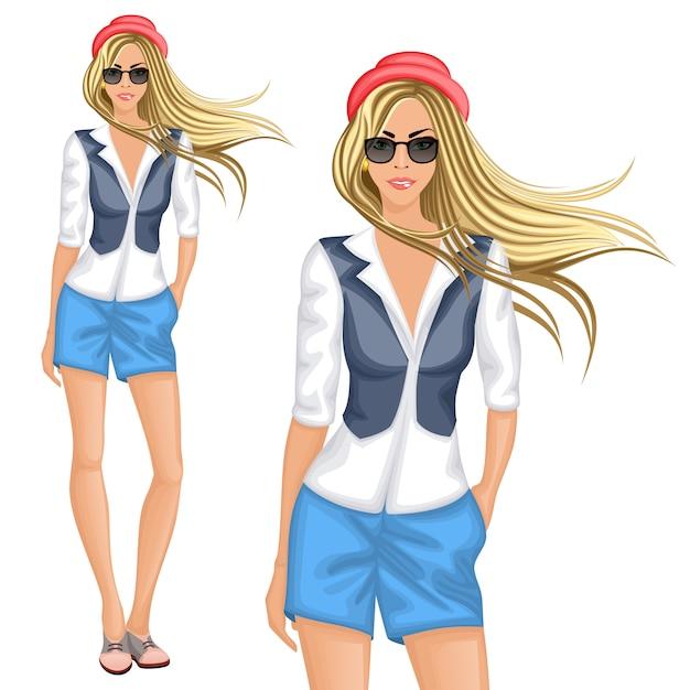 Carattere ragazza bionda hipster Vettore Premium