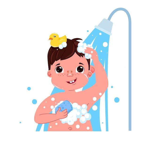 Carattere ragazzo bambino piccolo fare una doccia Vettore gratuito