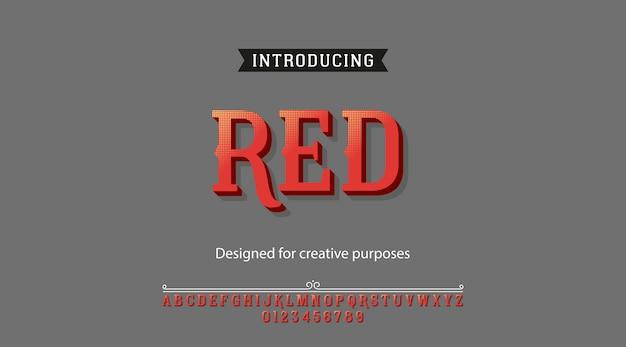 Carattere rosso. tipo di carattere con alfabeto e numeri Vettore Premium