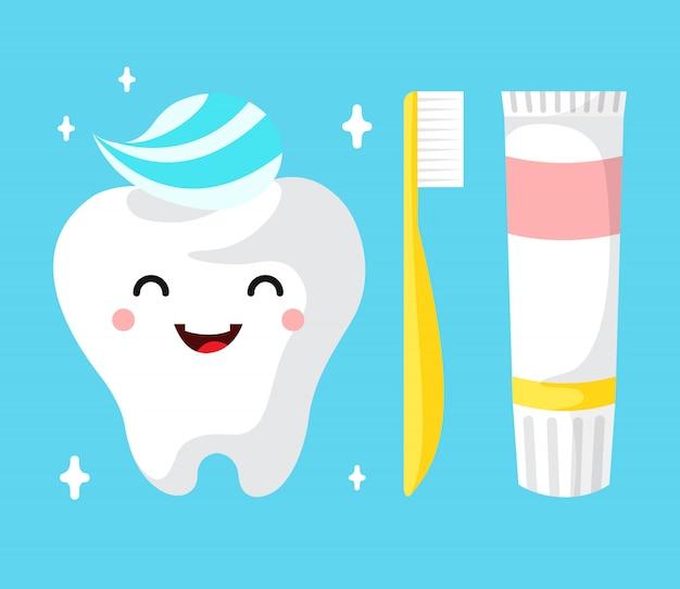 Carattere sano del dente del fumetto sveglio che sorride felicemente dente con dentifricio in pasta. Vettore gratuito