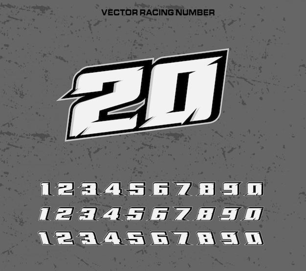 Carattere tipografia racing con numeri Vettore Premium