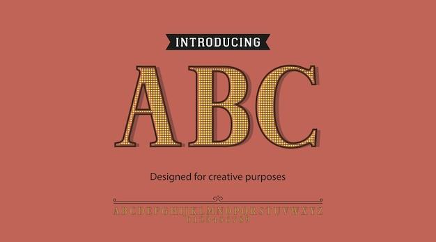 Carattere tipografico abc. per diversi tipi di disegni Vettore Premium