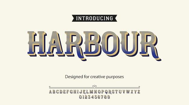 Carattere tipografico del porto. tipo di carattere con alfabeto e numeri Vettore Premium