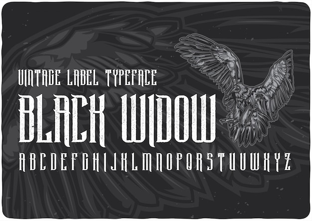Carattere tipografico etichetta black widow Vettore Premium