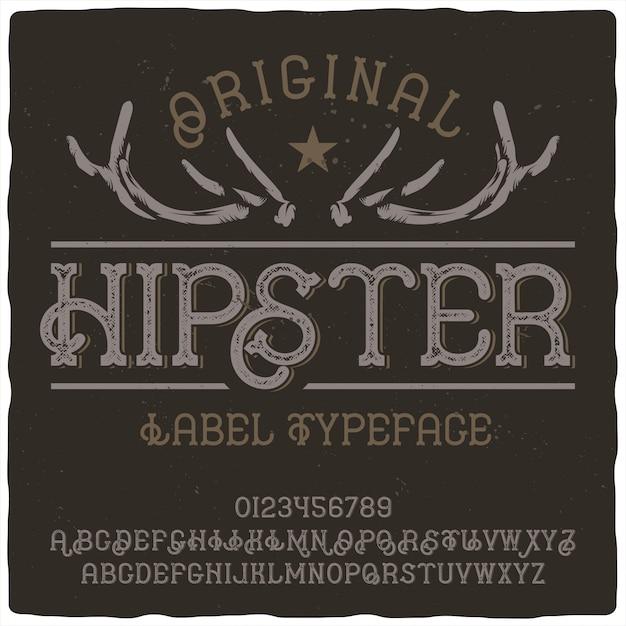 Carattere tipografico etichetta hipster Vettore Premium
