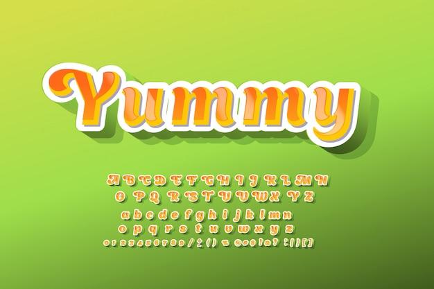 Carattere tipografico per bambini 3d grassetto tipografia sans serif style Vettore Premium
