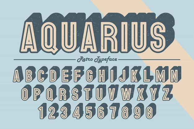 Carattere tipografico retrò vintage decorativo di vettore, carattere, carattere tipografico. Vettore Premium