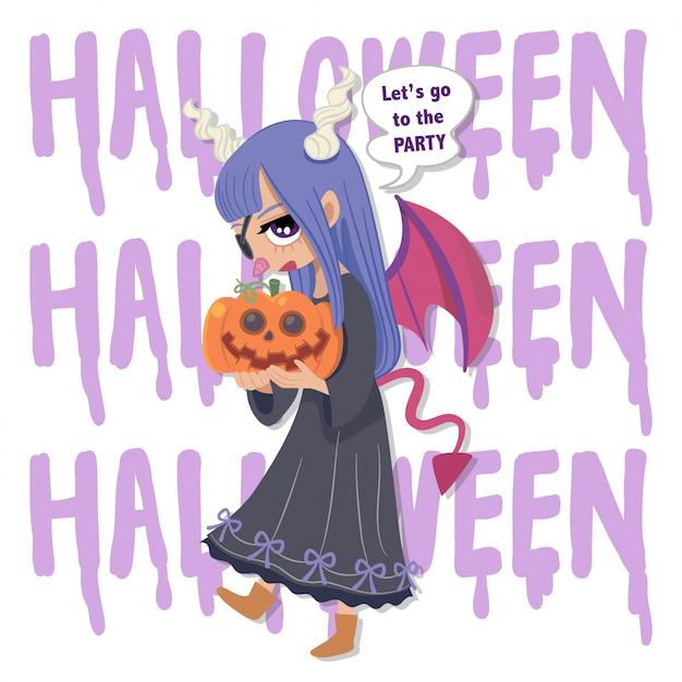 Carattere vettoriale halloween ragazza cattiva Vettore Premium