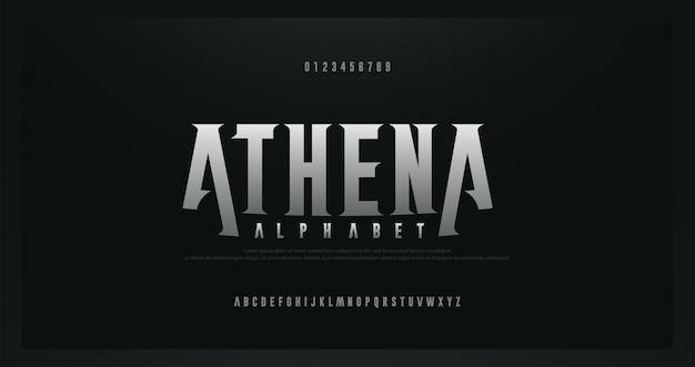 Caratteri alfabeto moderno rock serif. tipografia per rock, musica, gioco, futuro, carattere creativo, disegno astratto e numero Vettore Premium
