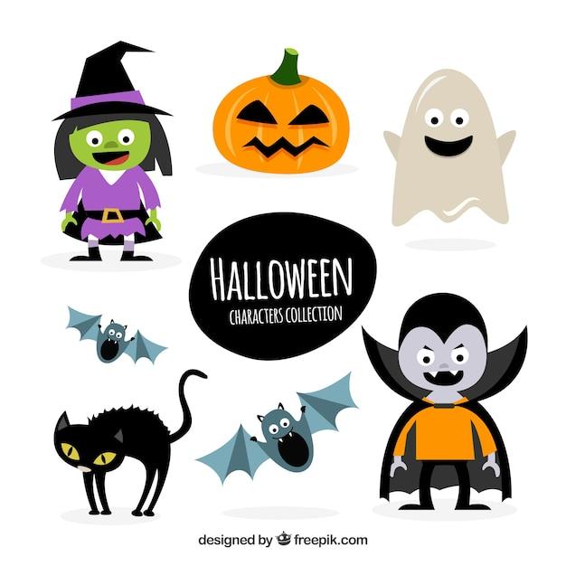 Caratteri amichevoli di halloween Vettore gratuito
