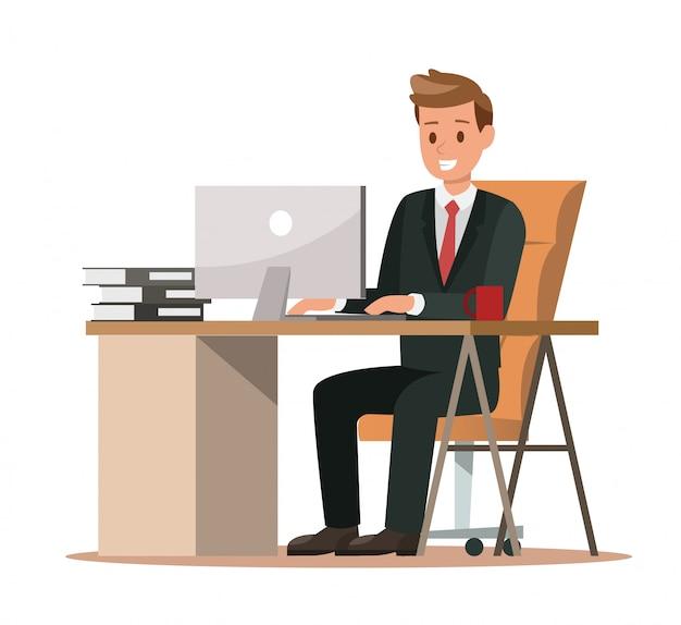 Caratteri aziendali che lavorano in ufficio Vettore Premium