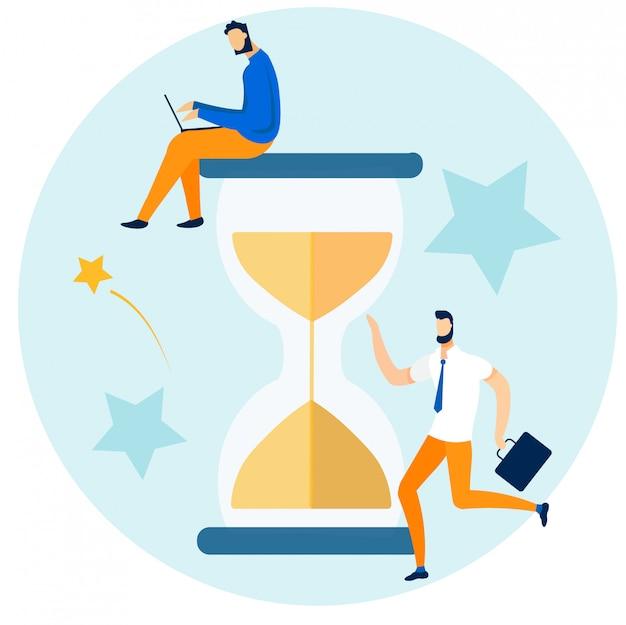 Caratteri degli impiegati e gestione del tempo Vettore Premium