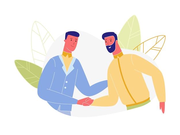 Caratteri degli uomini di affari che agitano le mani isolate Vettore Premium