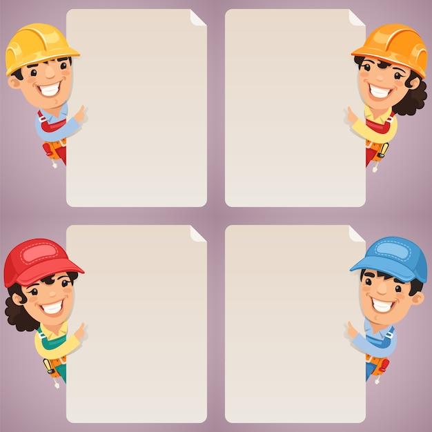 Caratteri dei cartoni animati dei costruttori che esaminano insieme in bianco del manifesto Vettore Premium