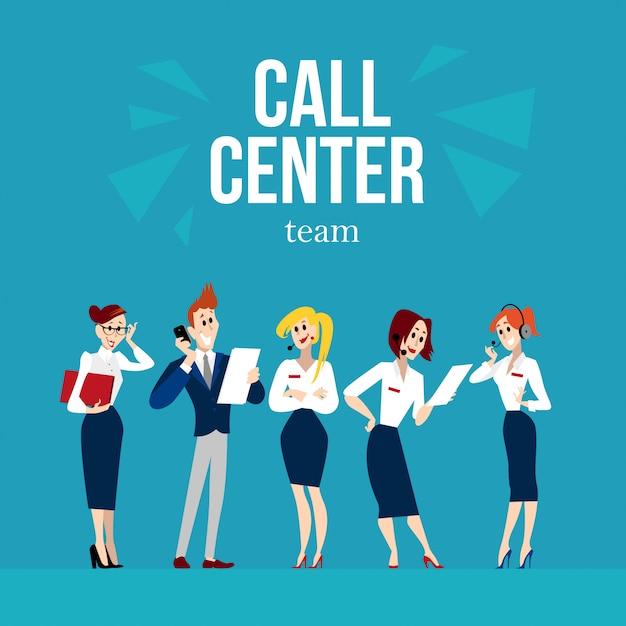 Caratteri dei lavoratori del call center. illustrazione. Vettore Premium